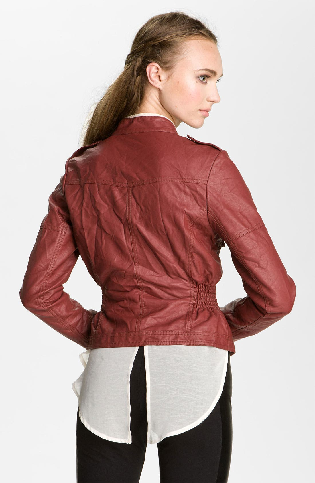Alternate Image 2  - Collection B Quilted Faux Leather Jacket (Juniors)