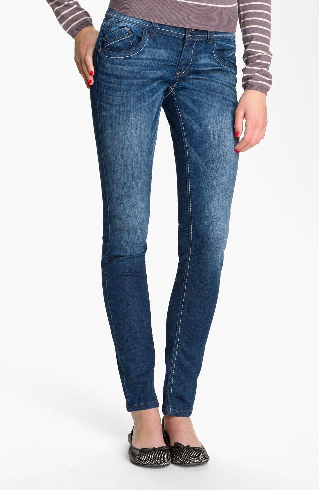 Alternate Image 1 Selected - Jolt 'J' Pocket Skinny Jeans (Juniors)