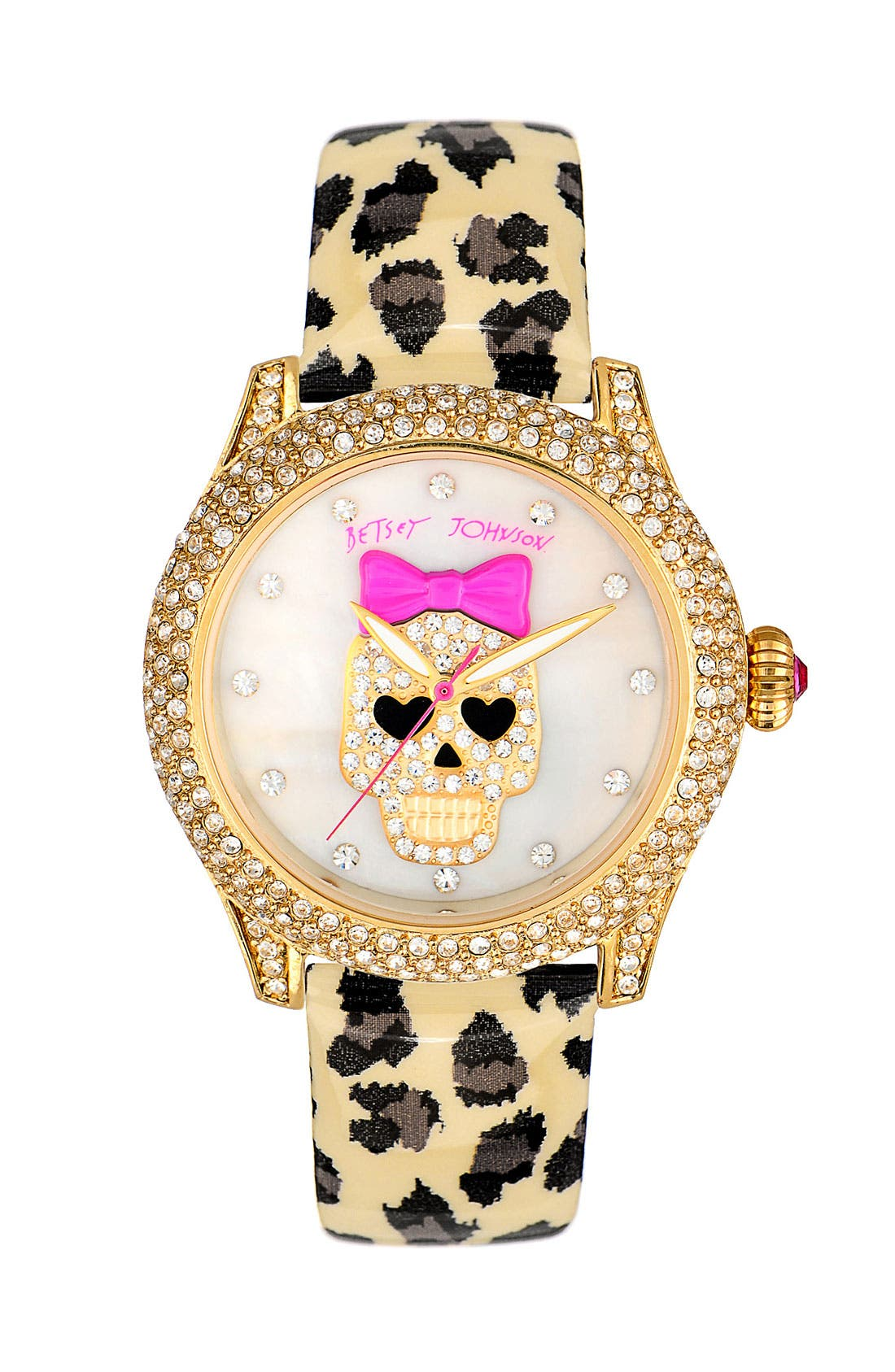 Main Image - Betsey Johnson Skull Dial Leather Strap Watch, 40mm