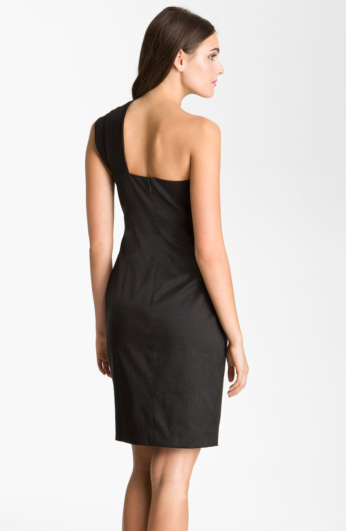 Alternate Image 2  - Eliza J One Shoulder Ruched Taffeta Sheath Dress