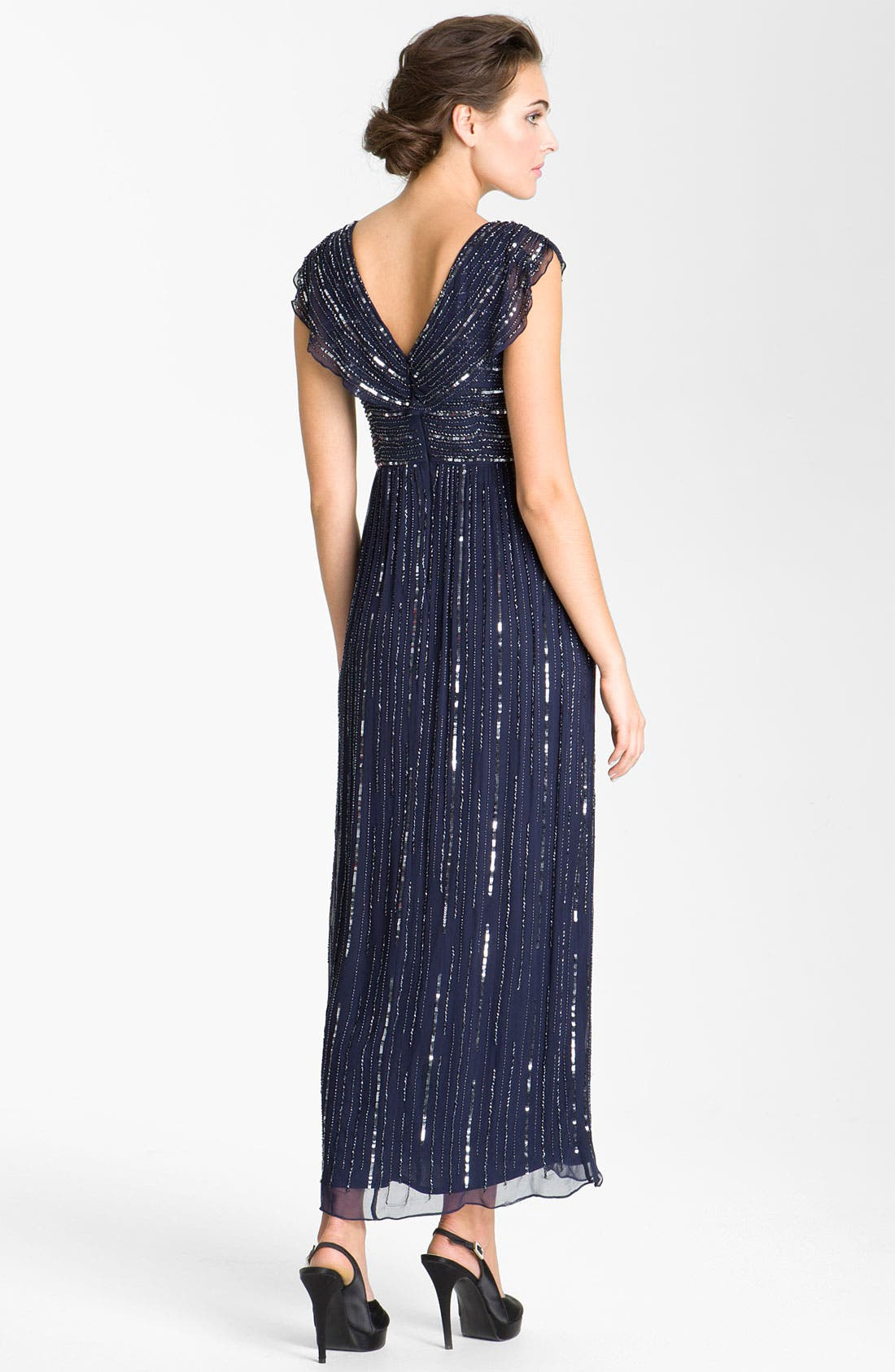 Alternate Image 2  - Patra V-Neck Embellished Silk Chiffon Gown