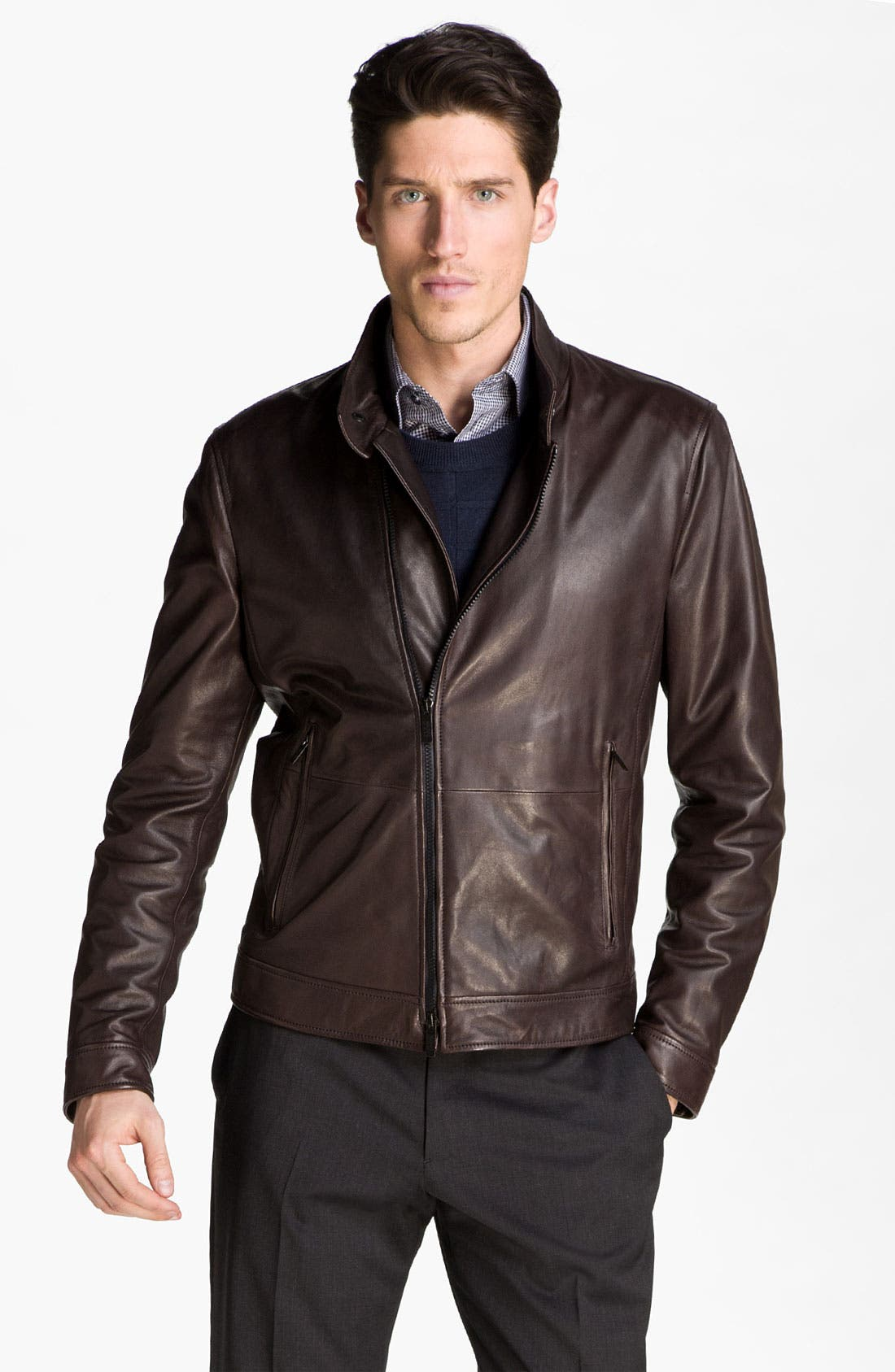 Alternate Image 1 Selected - Armani Collezioni Asymmetrical Zip Leather Jacket