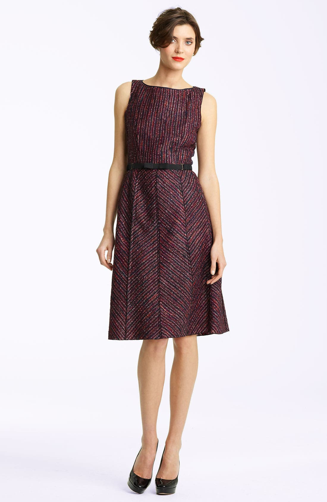 Main Image - Nina Ricci Belted A-line Tweed Dress