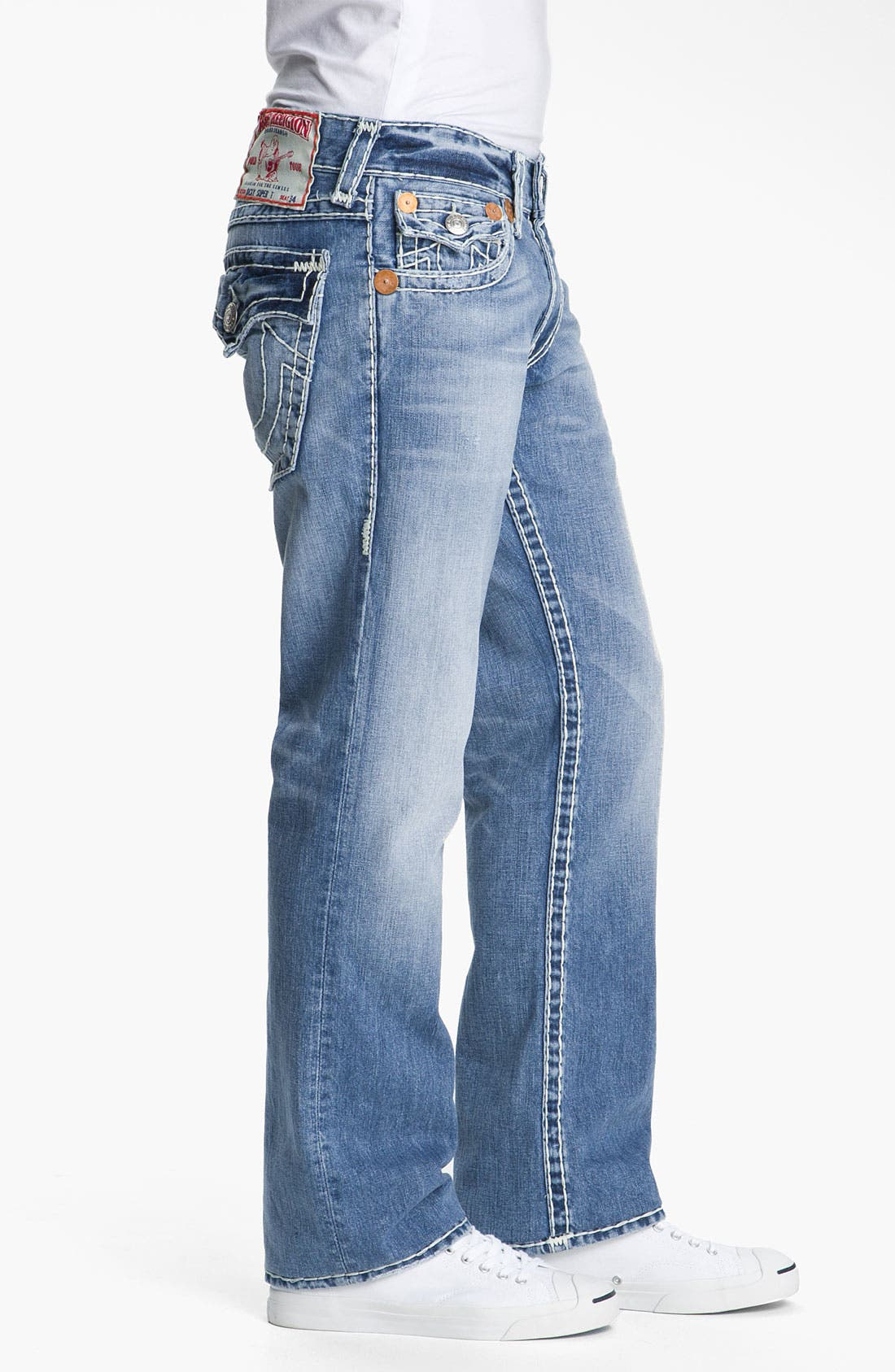 Alternate Image 3  - True Religion Brand Jeans 'Ricky - Natural Super T' Straight Leg Jeans (Medium Drifter)