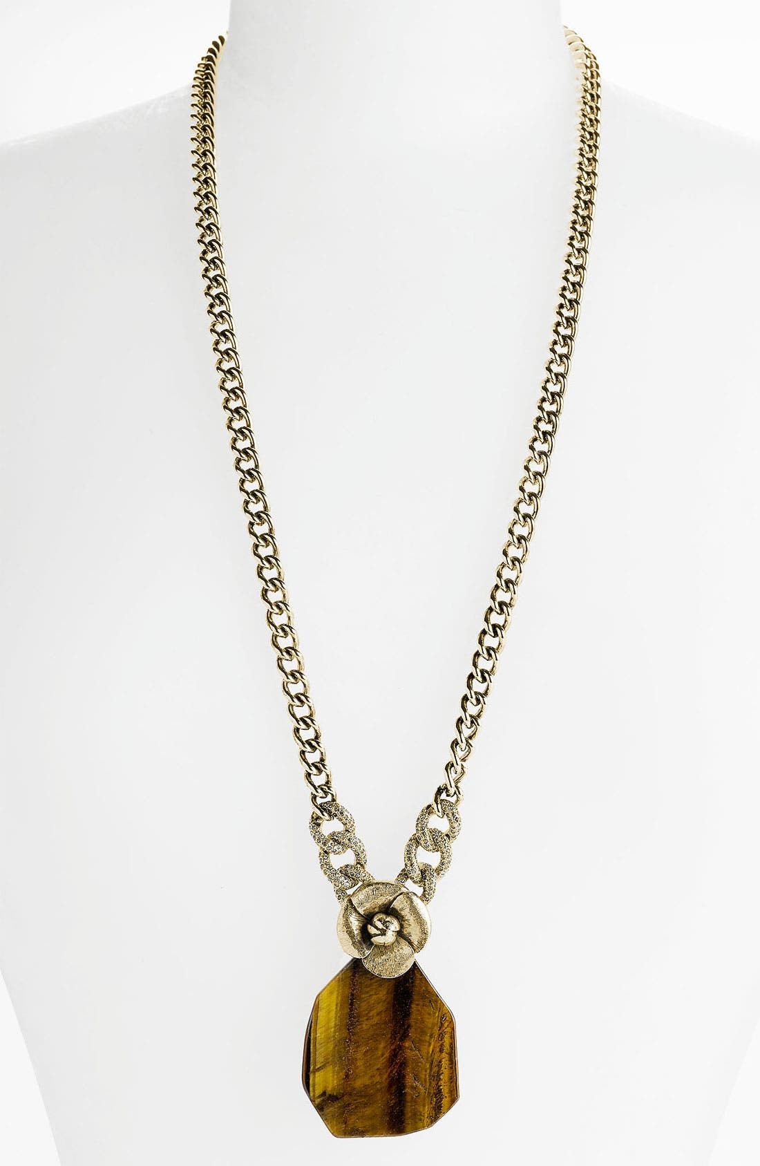 Main Image - St. John Collection 'Chip' Tiger's Eye Pendant Necklace