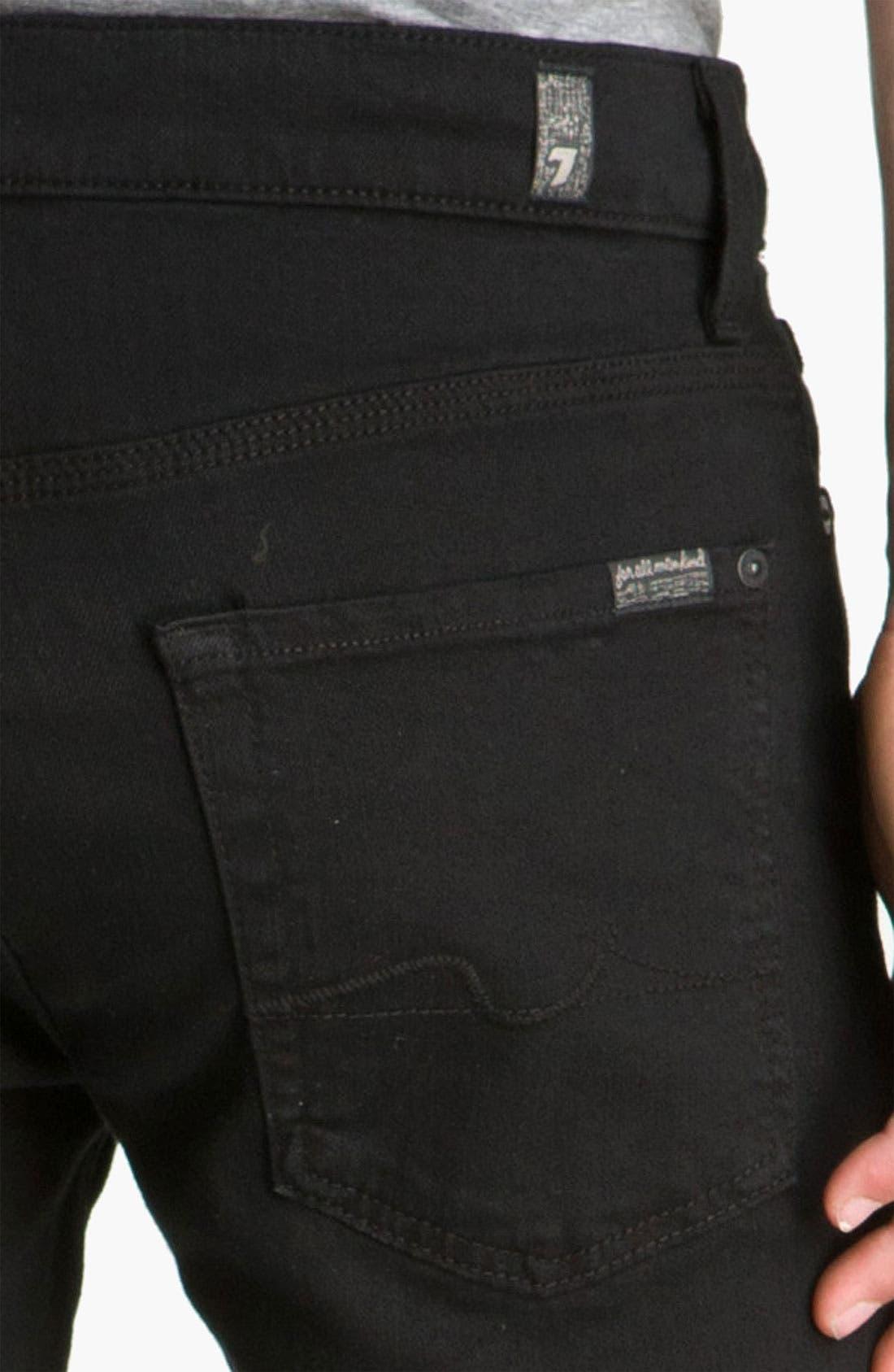 Alternate Image 4  - 7 For All Mankind® 'Slimmy' Slim Fit Jeans (Black Out)