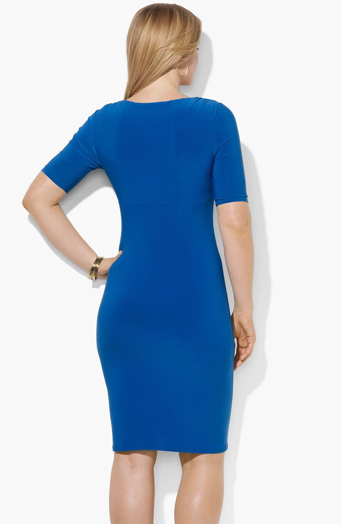 Alternate Image 2  - Lauren Ralph Lauren Faux Wrap Jersey Dress (Plus)