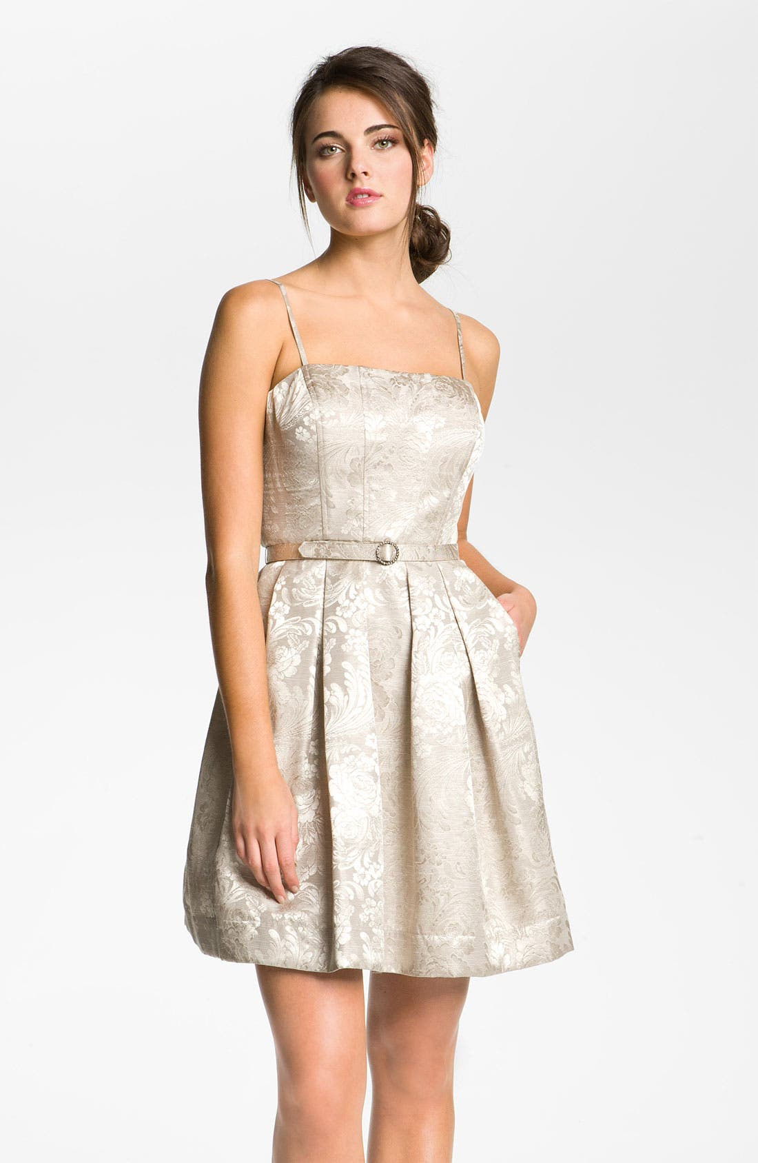 Alternate Image 4  - Eliza J Strapless Belted Jacquard Dress