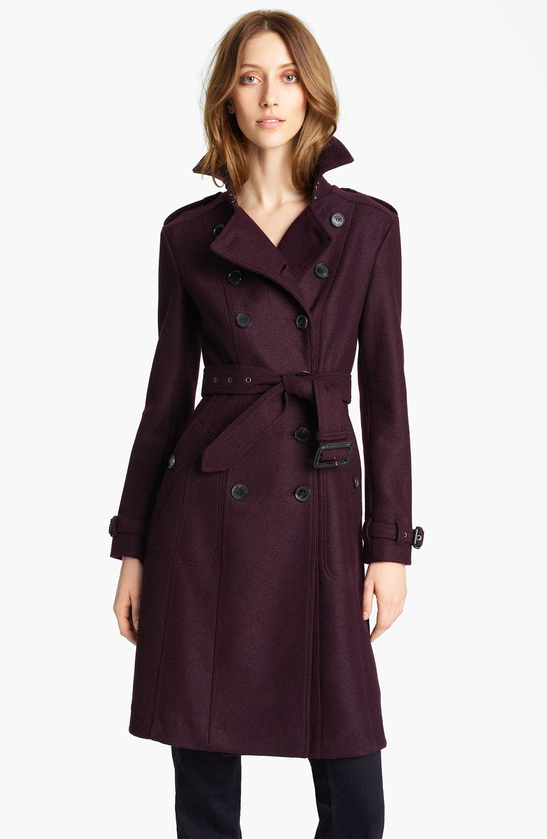 Alternate Image 1 Selected - Burberry London Belted Boiled Wool Trench