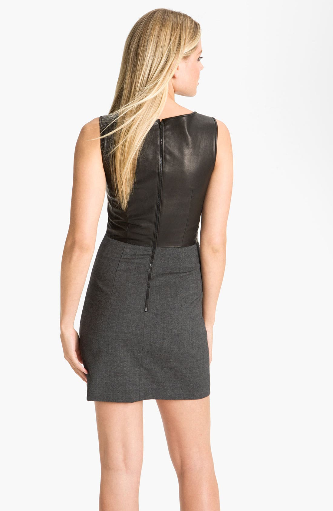 Alternate Image 2  - Theory 'Tirionne C. - Majestrate' Leather & Wool Sheath Dress