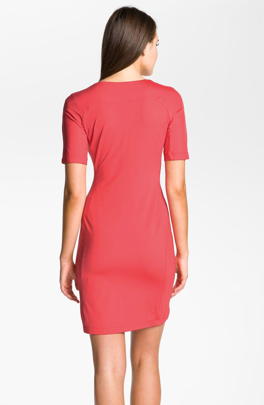 Alternate Image 2  - Donna Morgan V-Neck Jersey Sheath Dress
