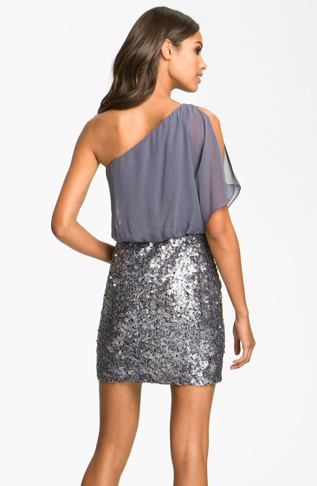 Alternate Image 2  - Aidan Mattox Sequin One Shoulder Chiffon Dress