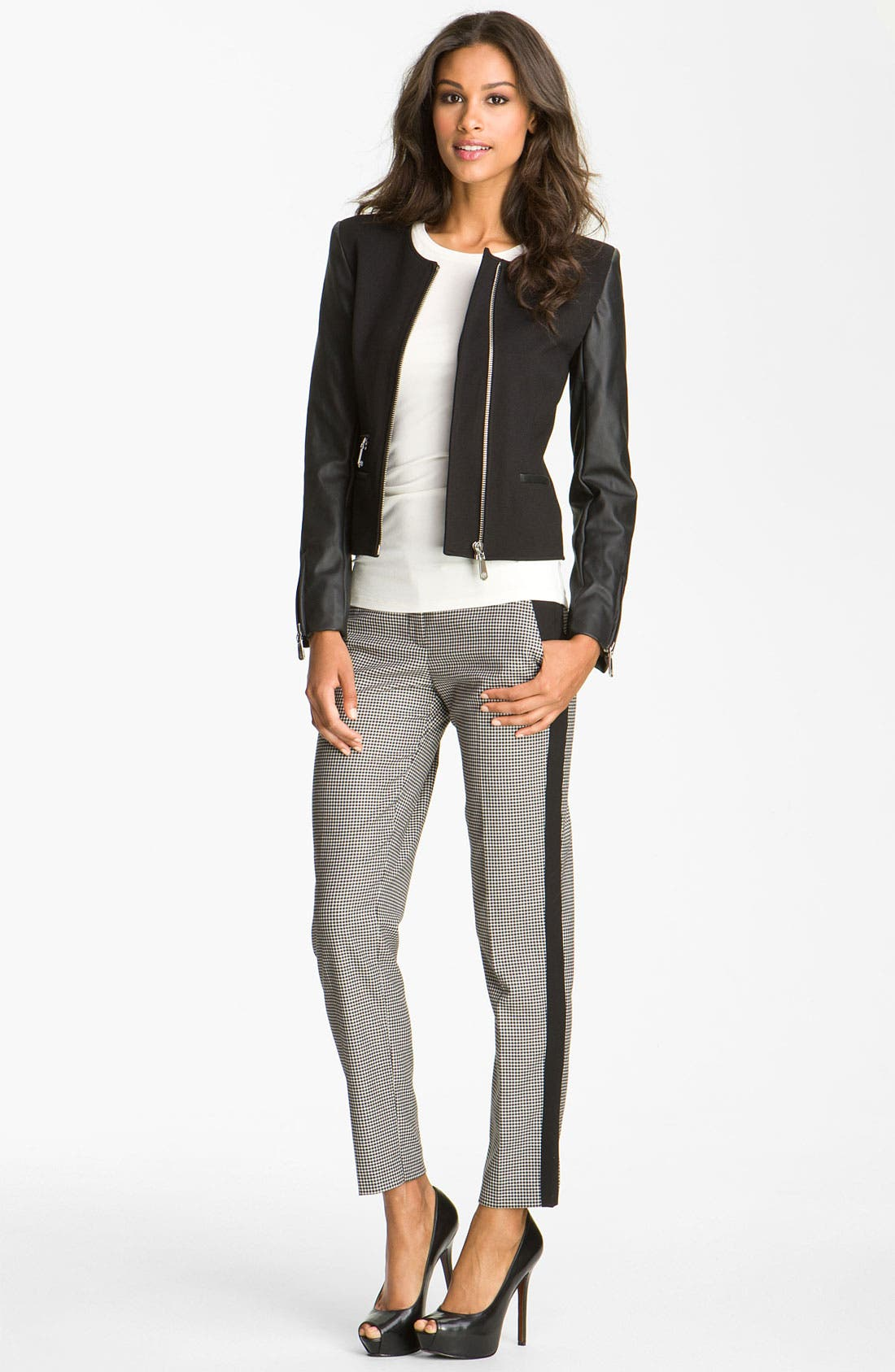 Alternate Image 2  - Vince Camuto Faux Leather Sleeve Jacket