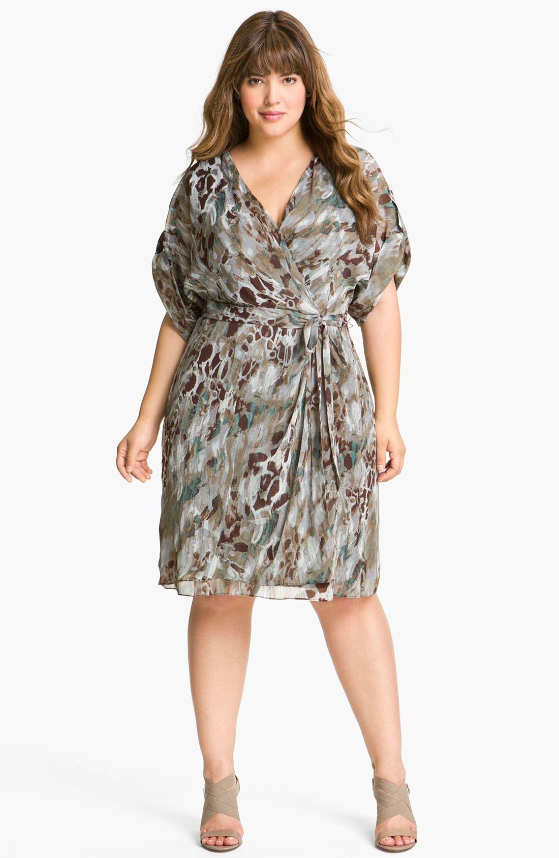 Main Image - Adrianna Papell Print Faux Wrap Chiffon Dress (Plus)
