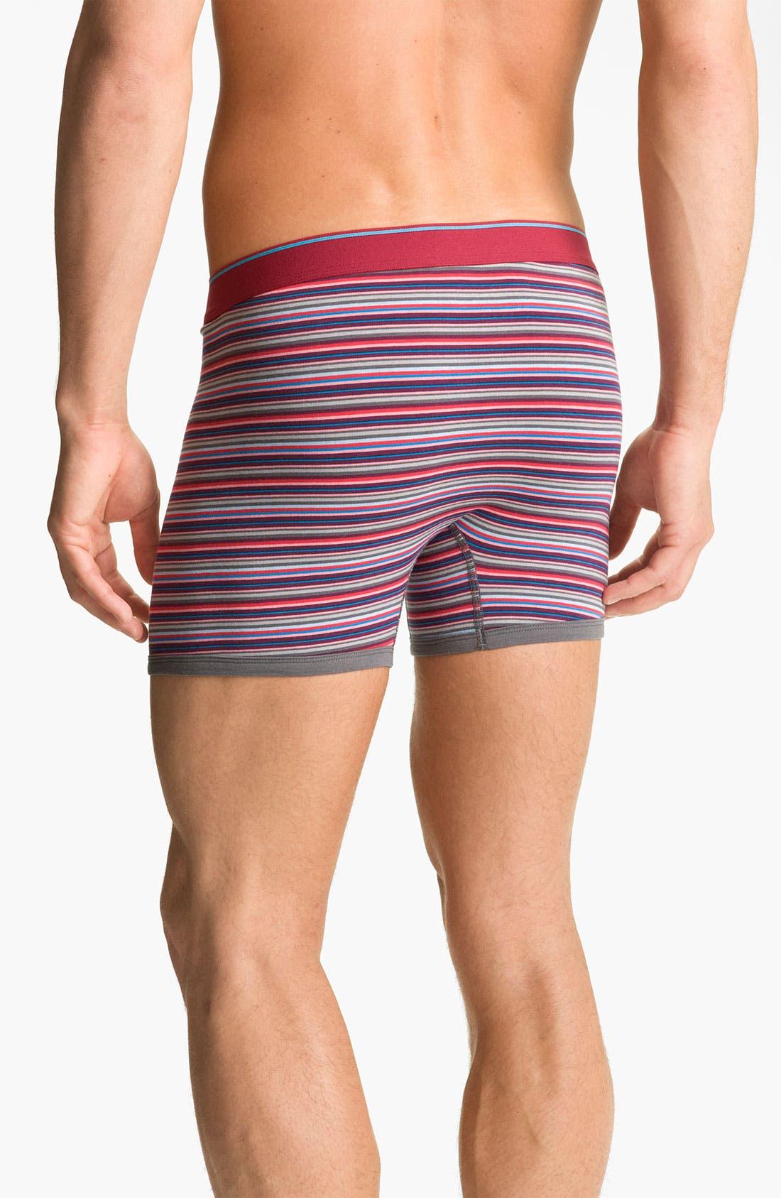 Alternate Image 2  - Basic Underwear Novelty Stripe Boxer Briefs (3-Pack)