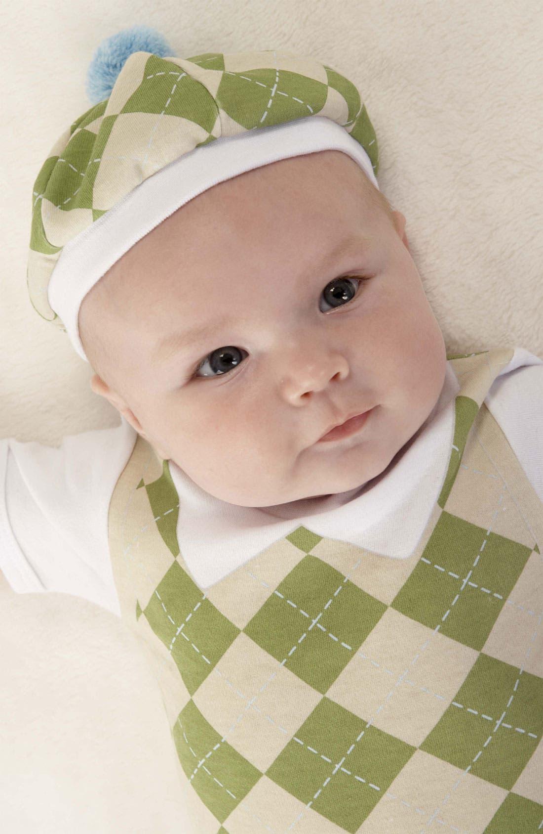 Main Image - Baby Aspen 'Sweet Tea' Bodysuit, Booties & Hat Set (Baby)