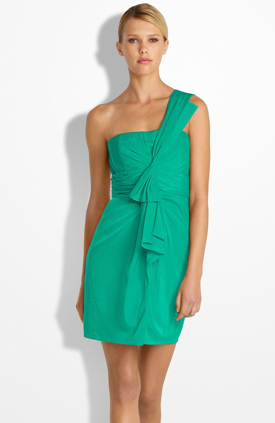 Main Image - BCBGMAXAZRIA Drape Front One-Shoulder Satin Dress (Petite)