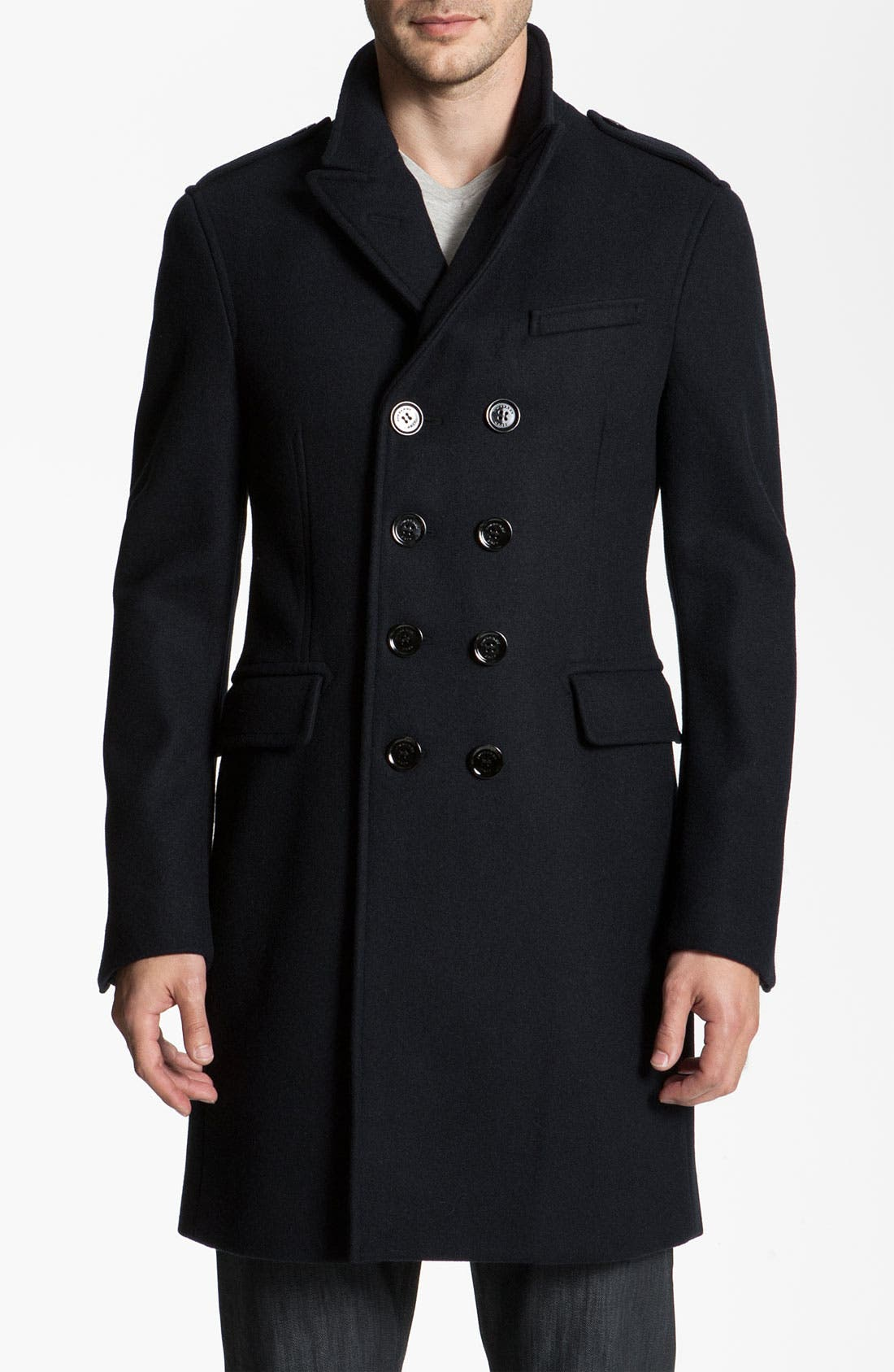 Alternate Image 1 Selected - Burberry Brit Wool Blend Trim Fit Trench Coat