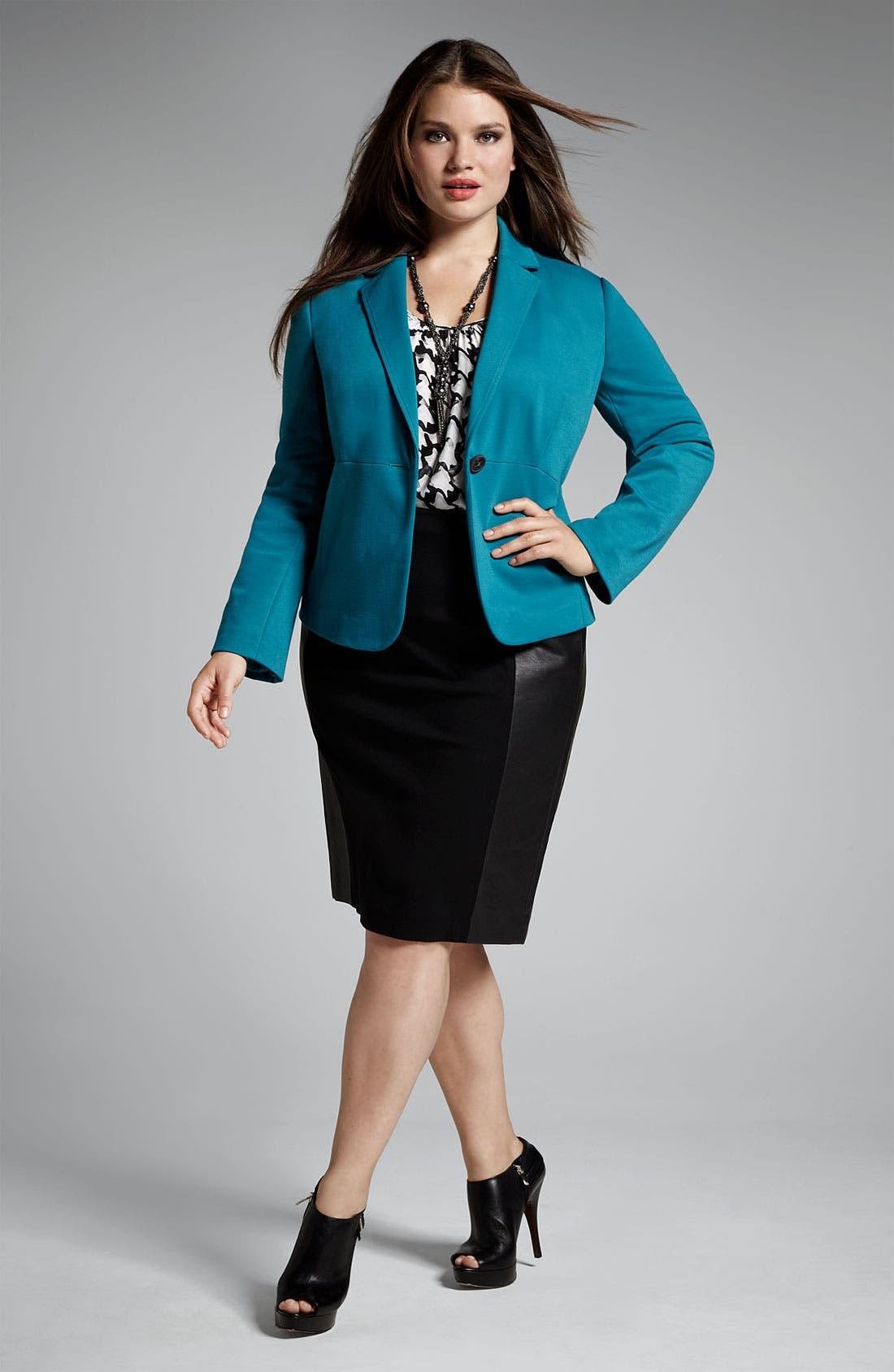 Alternate Image 4  - Sejour Ponte Knit & Faux Leather Skirt (Plus)