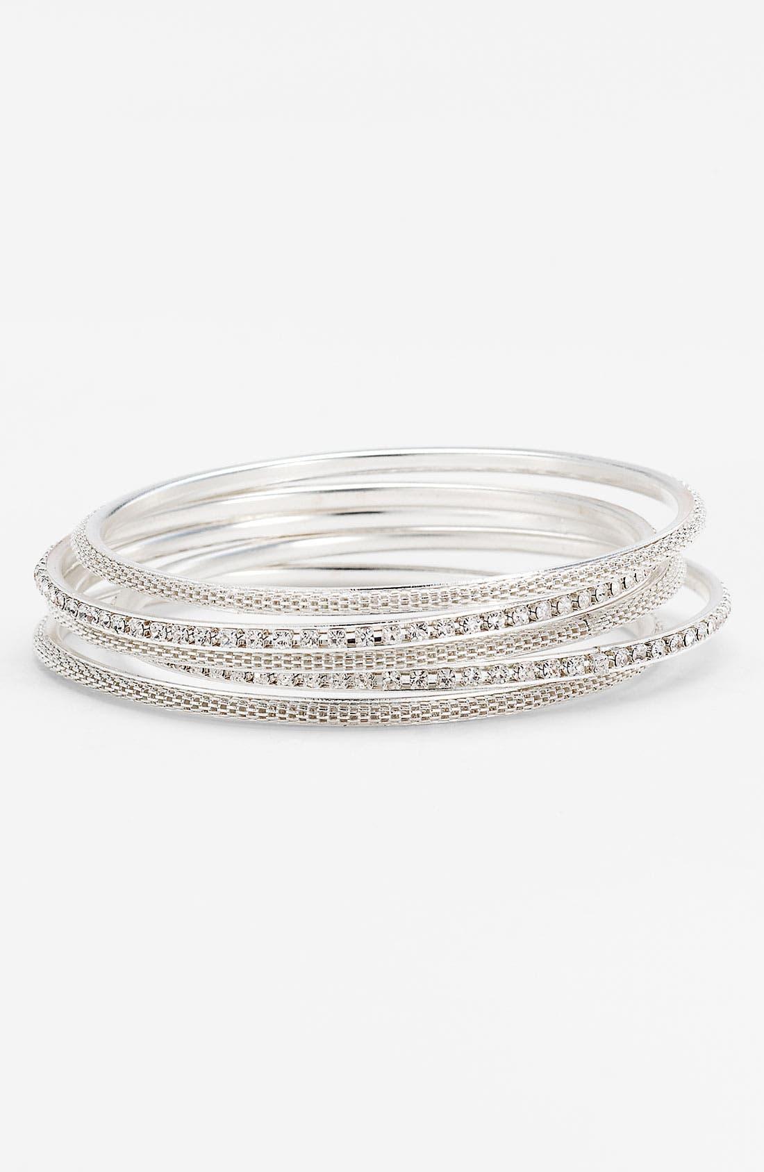 Main Image - Carole Rhinestone Bangle Bracelets (Set of 5)
