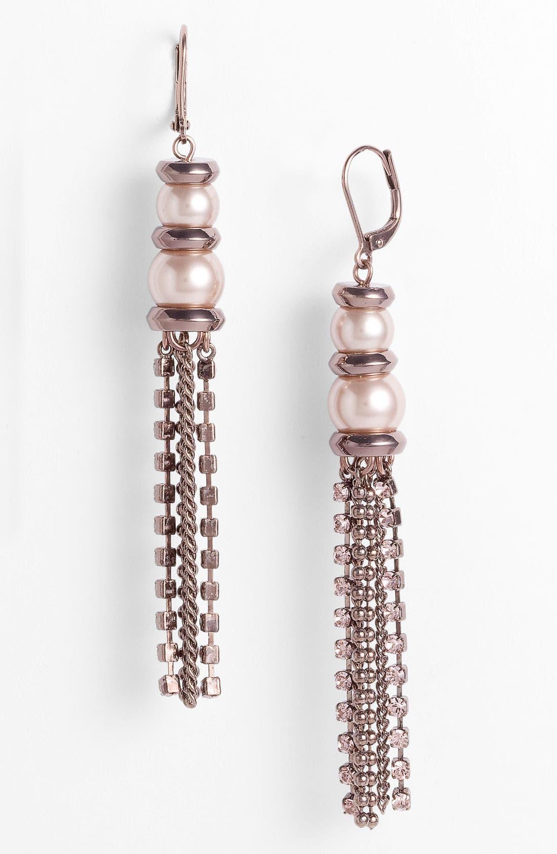 Glass Pearl & Chain Tassel Earrings,                         Main,                         color, Blush Pearl/ Brown Gold