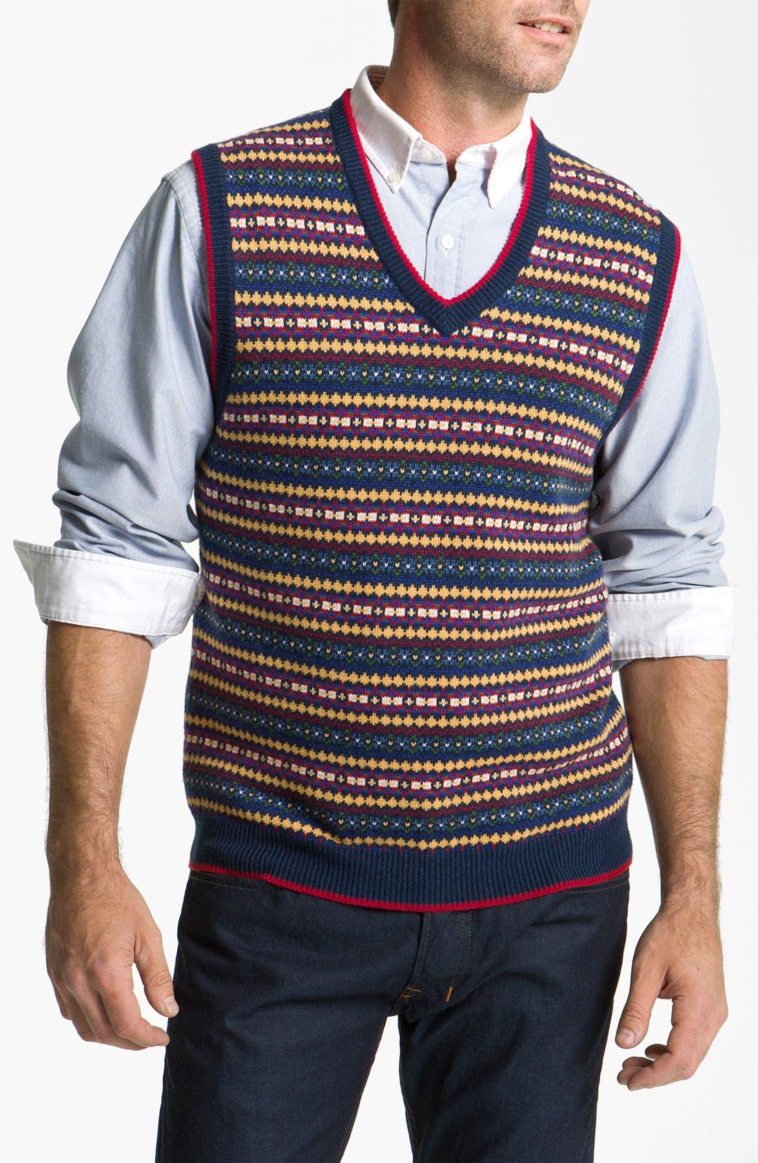 Alternate Image 1 Selected - Brooks Brothers Fair Isle Cotton & Wool Vest