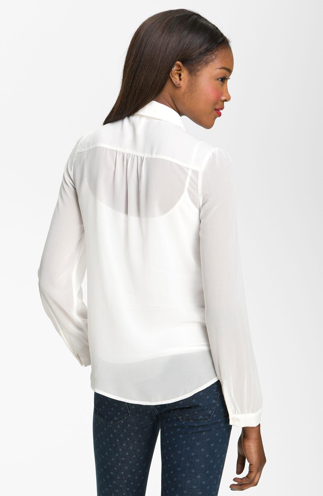 Alternate Image 2  - Frenchi® Sheer Chiffon Shirt (Juniors)