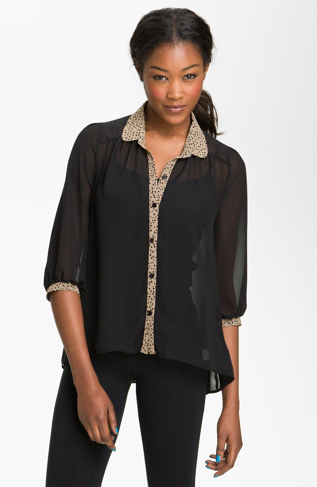 Alternate Image 1 Selected - Lush Contrast Trim Chiffon Shirt (Juniors)