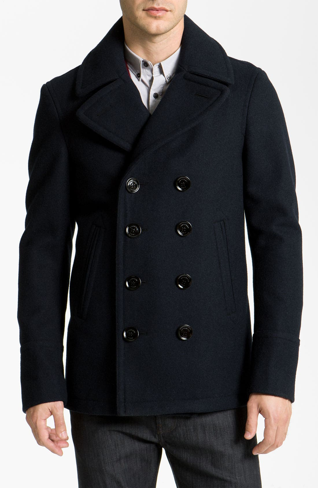 Main Image - Burberry Brit Double Breasted Wool Blend Coat