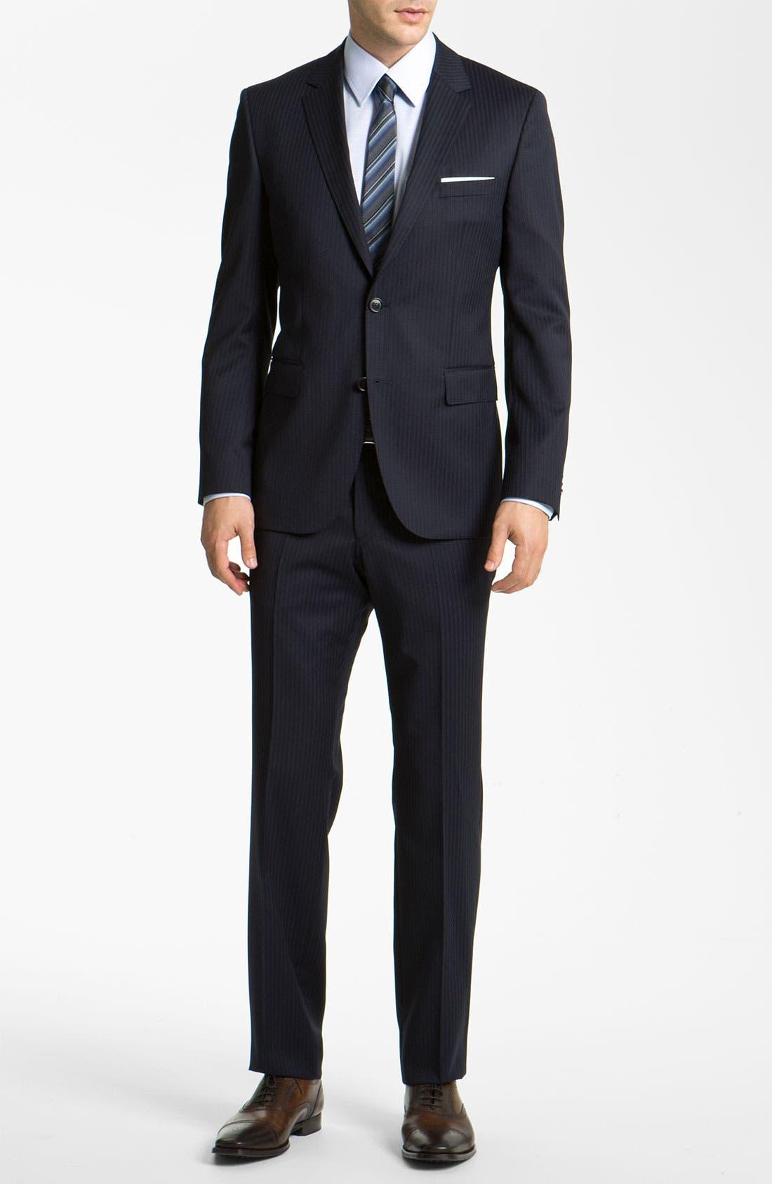 Alternate Image 2  - BOSS Black 'James/Sharp' Trim Fit Stripe Suit