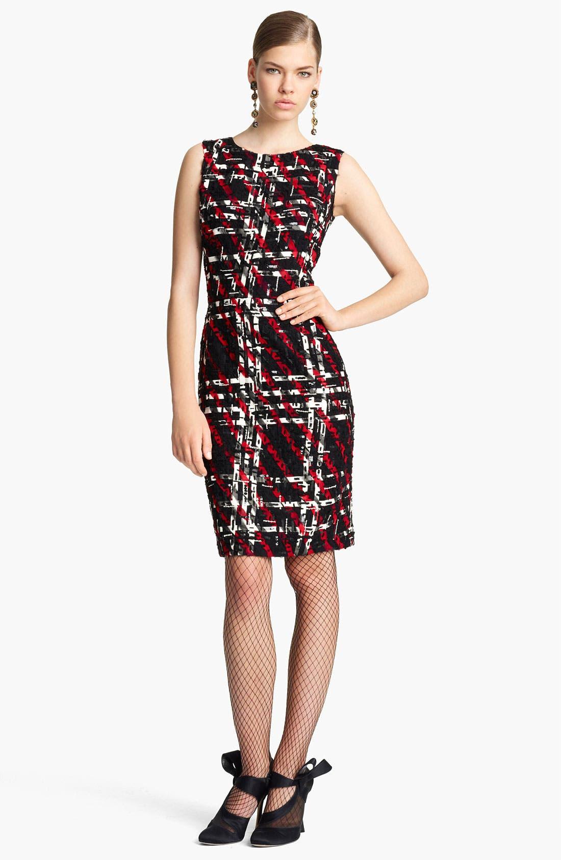 Main Image - Oscar de la Renta Georgette Embroidered Tweed Dress