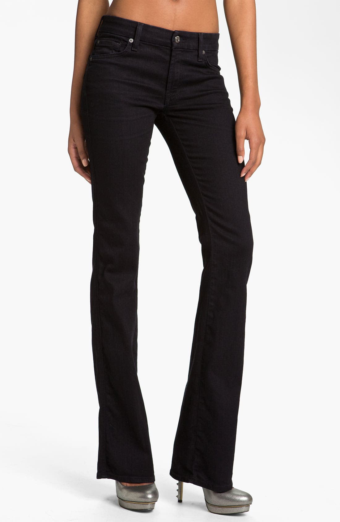 Main Image - 7 For All Mankind® 'Kimmie' Straight Leg Jeans (Black Coal)