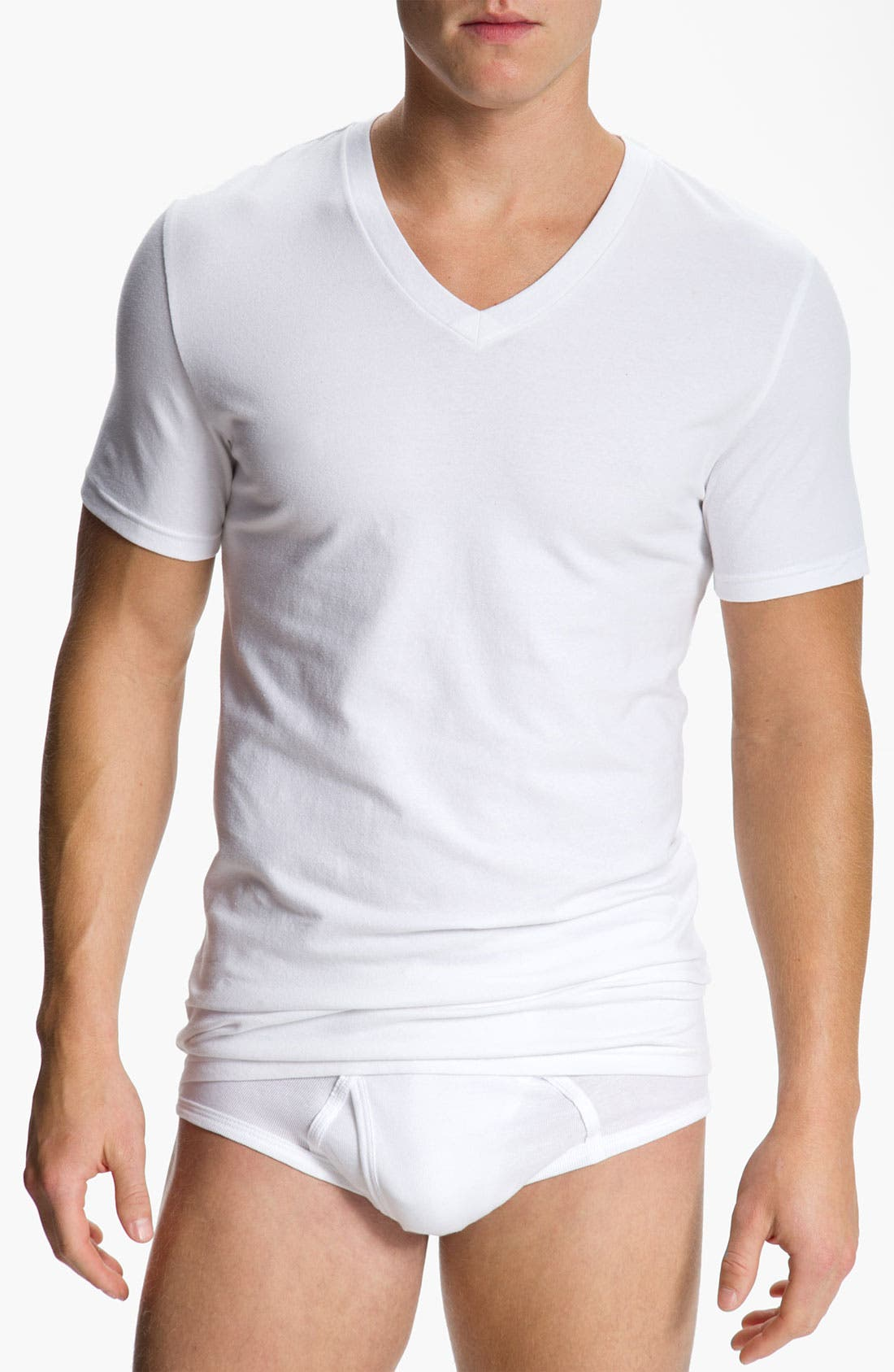 Main Image - Nordstrom Men's Shop 4-Pack Trim Fit V-Neck T-Shirt