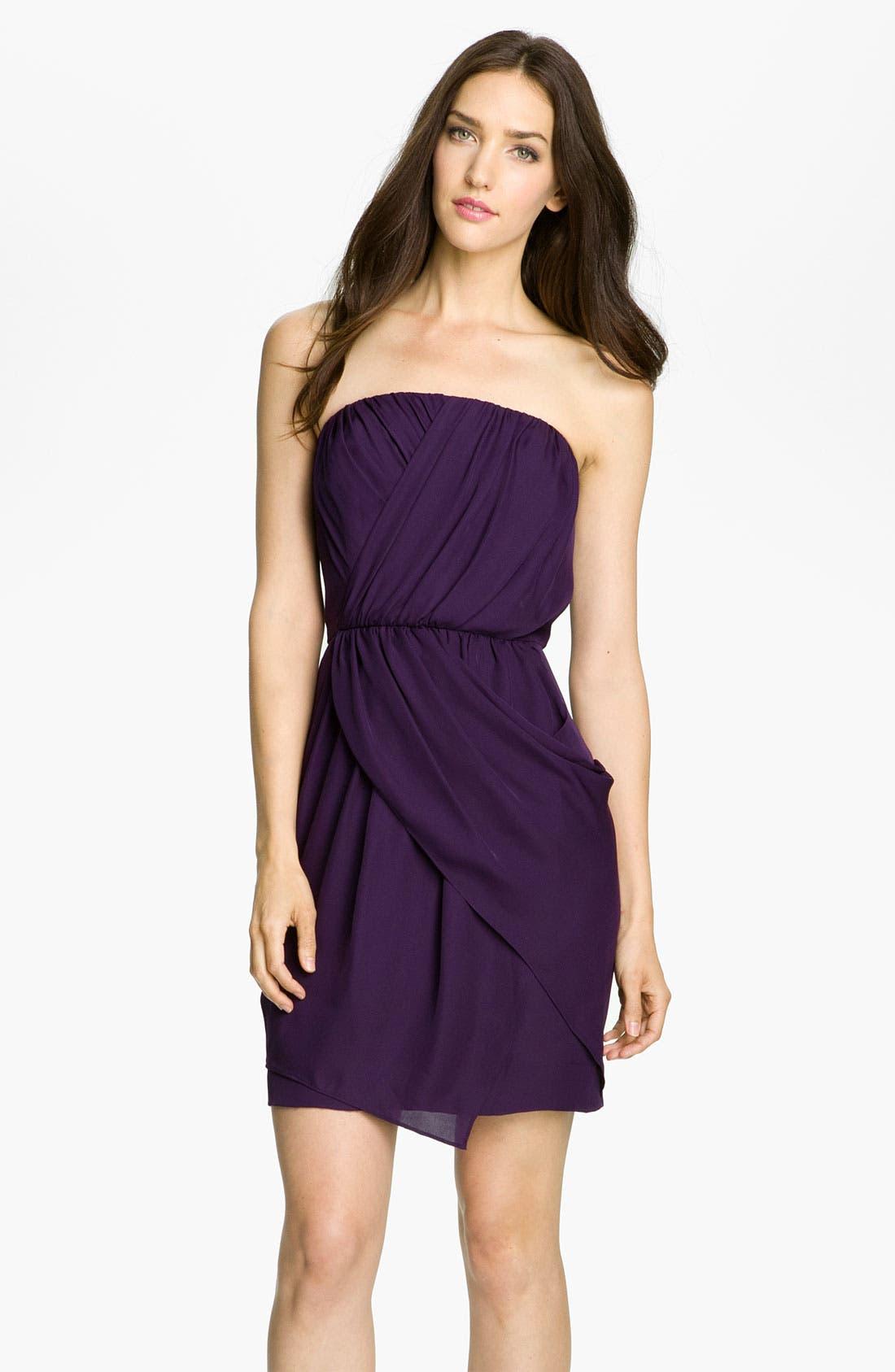Main Image - Donna Morgan Strapless Silk Georgette Blouson Dress