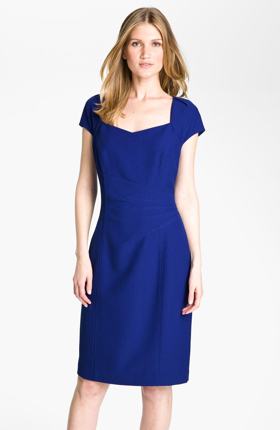 Main Image - Tahari by Arthur S. Levine Short Sleeve Crepe Sheath Dress