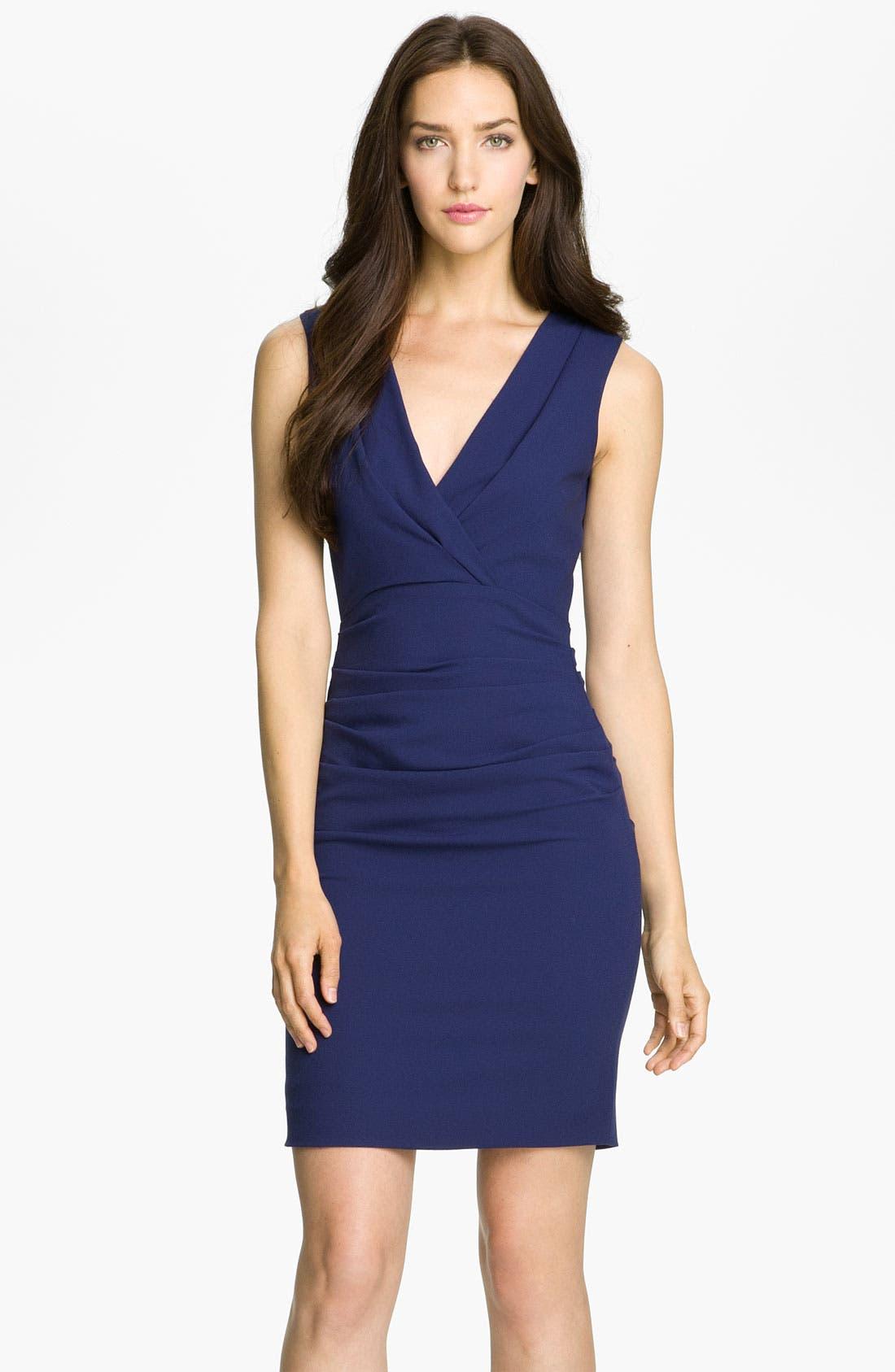Main Image - BCBGMAXAZRIA Ruched V-Neck Crepe Sheath Dress