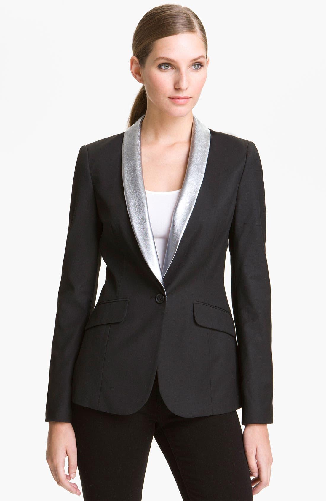Alternate Image 1 Selected - Elizabeth and James 'Rex' Metallic Leather Collar Blazer
