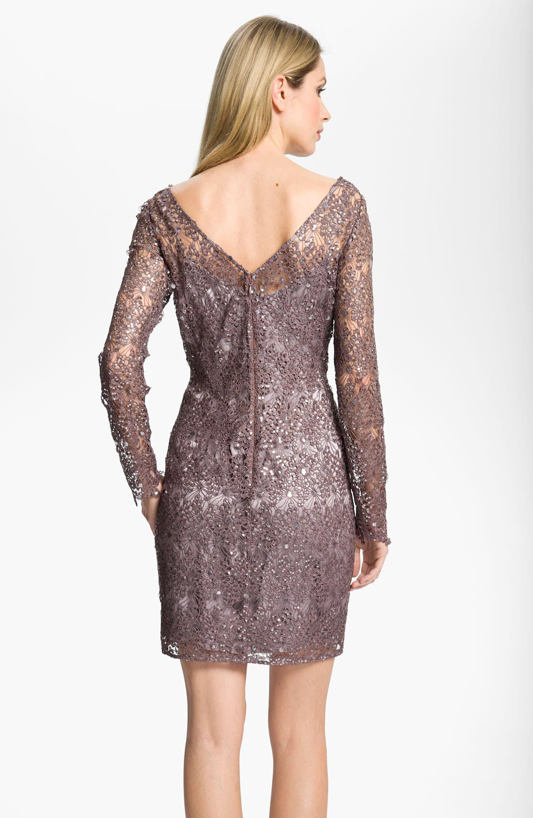 Alternate Image 2  - Kay Unger V-Back Metallic Lace Sheath Dress