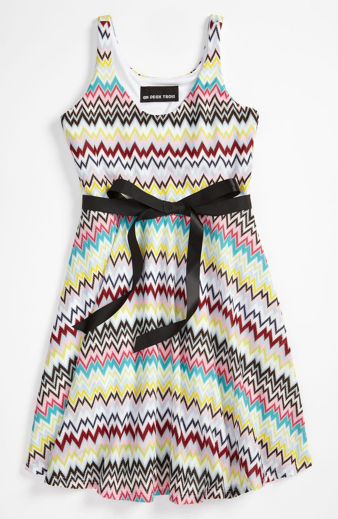 Alternate Image 1 Selected - Un Deux Trois 'Zigzag' Print Dress (Big Girls)