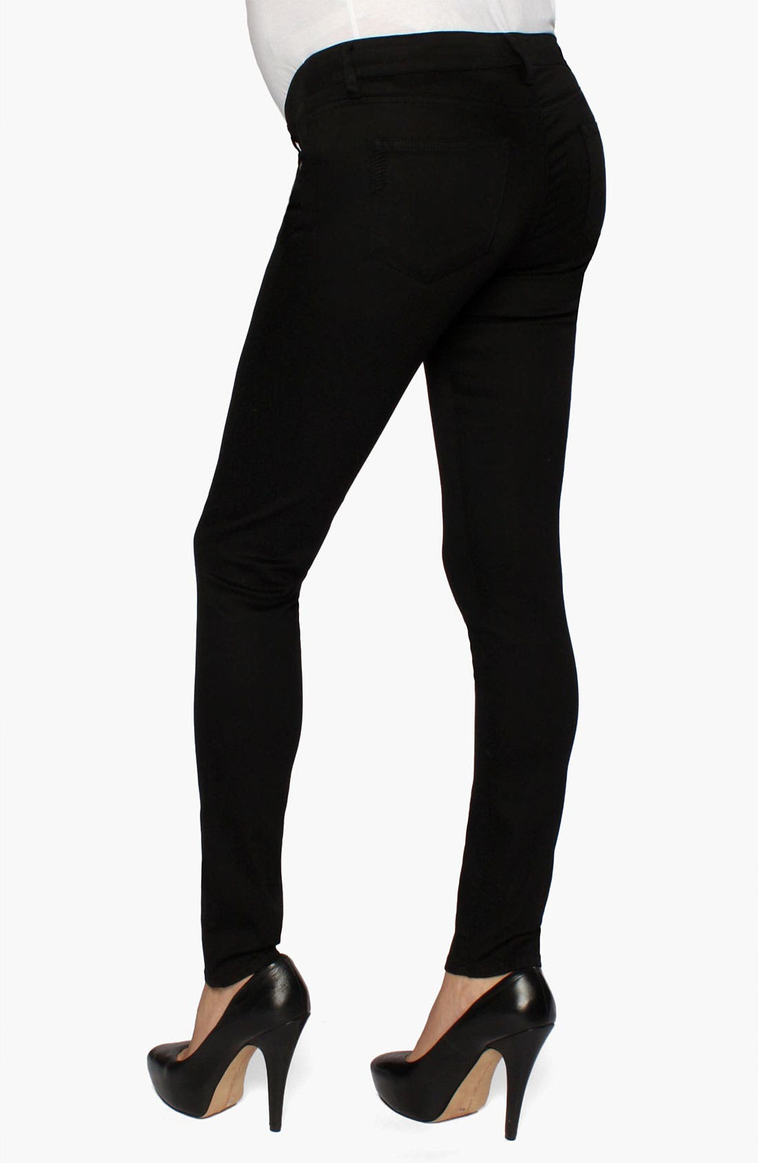 Alternate Image 1 Selected - Paige Denim 'Verdugo' Maternity Ultra Skinny Jeans (Black)