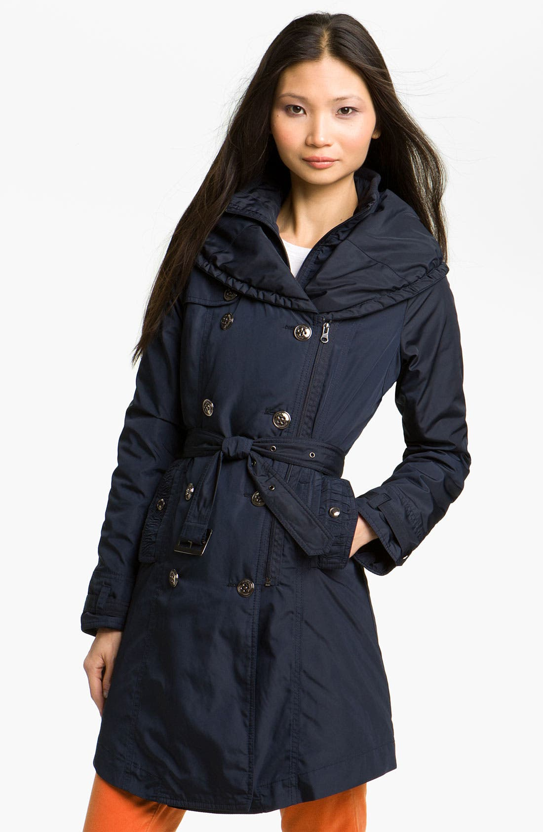 Puff Collar Belted Coat,                         Main,                         color, Navy