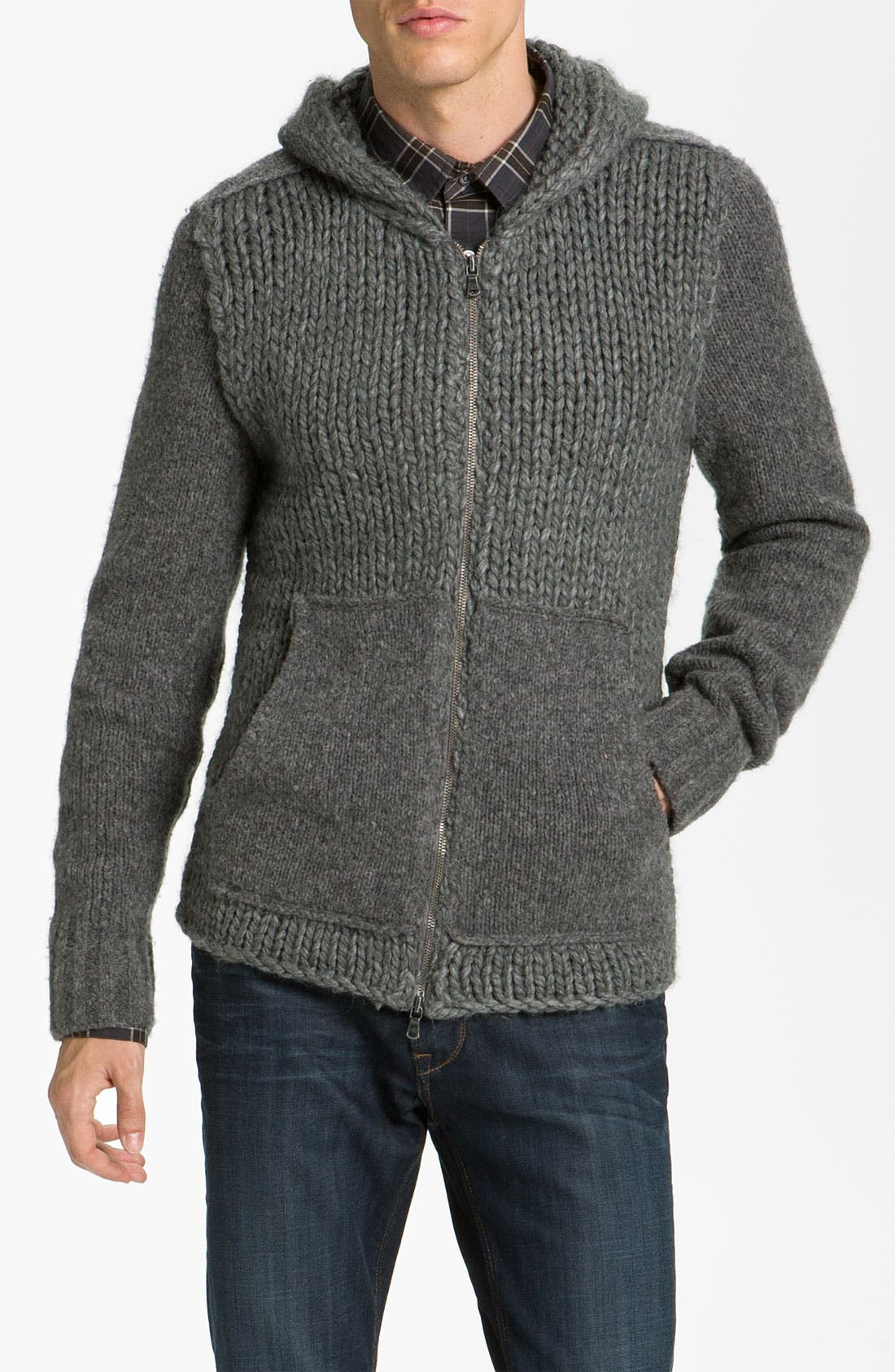 Alternate Image 1 Selected - John Varvatos Star USA Cable Knit Zip Hoodie