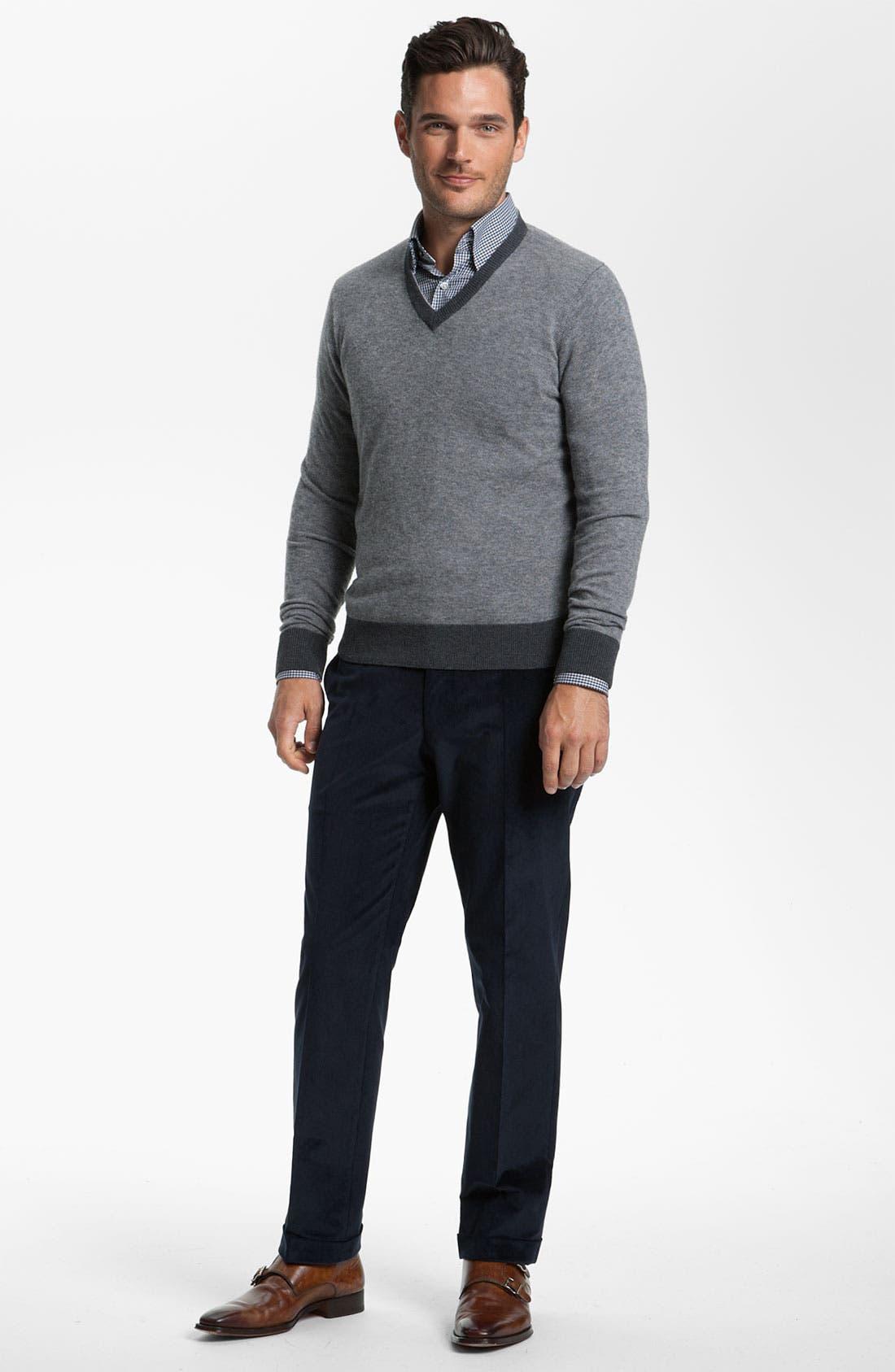 Alternate Image 3  - Canali V-Neck Wool Sweater