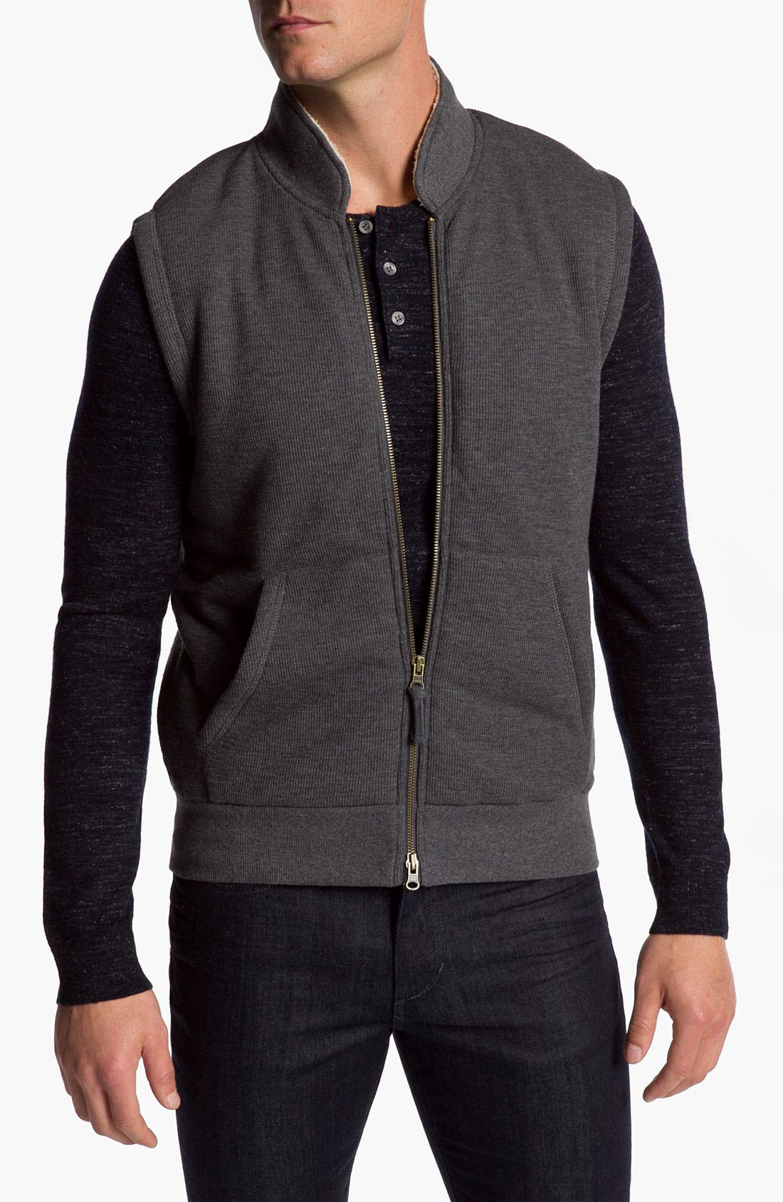 Main Image - Vince Slubbed Zip Vest with Faux Shearling Lining