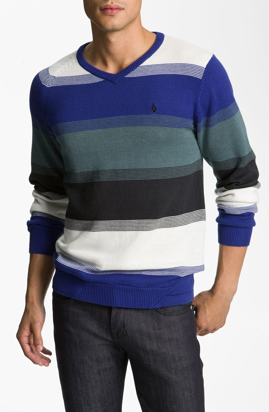 Alternate Image 1 Selected - Volcom Block Stripe V-Neck Sweater