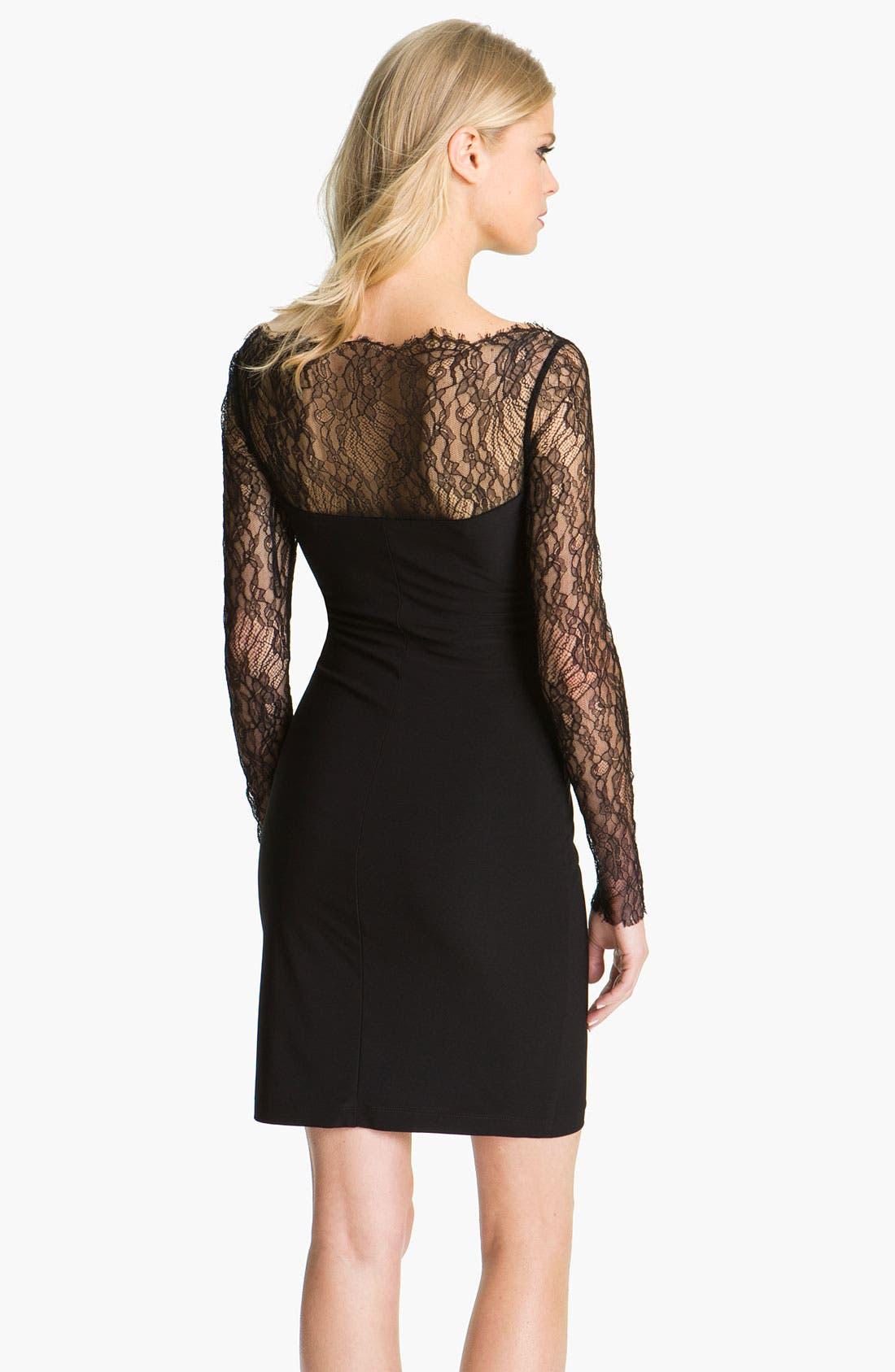 Alternate Image 2  - ABS by Allen Schwartz Lace Sleeve Jersey Sheath Dress