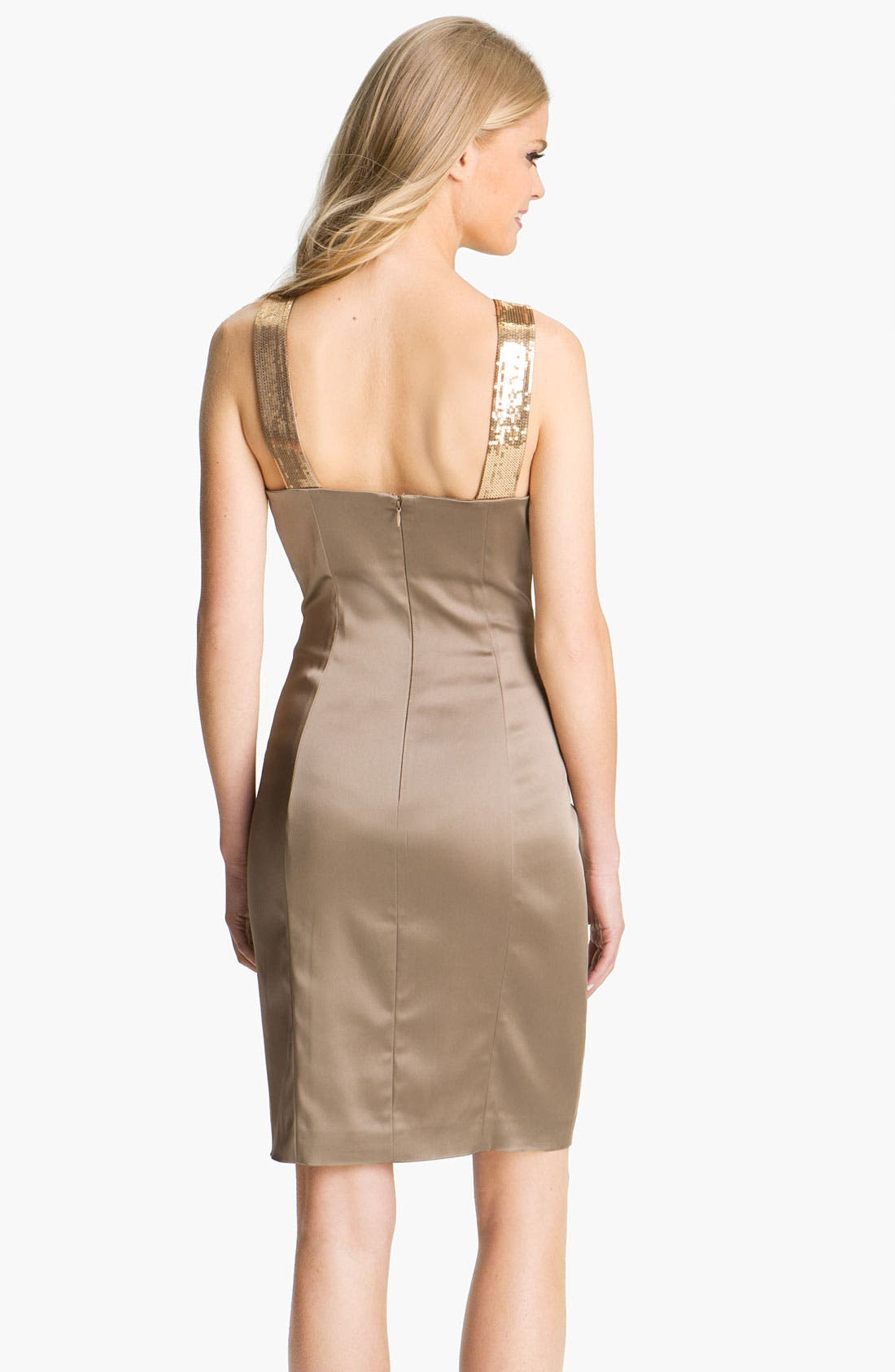Alternate Image 2  - Calvin Klein Sequin Strap Satin Sheath Dress