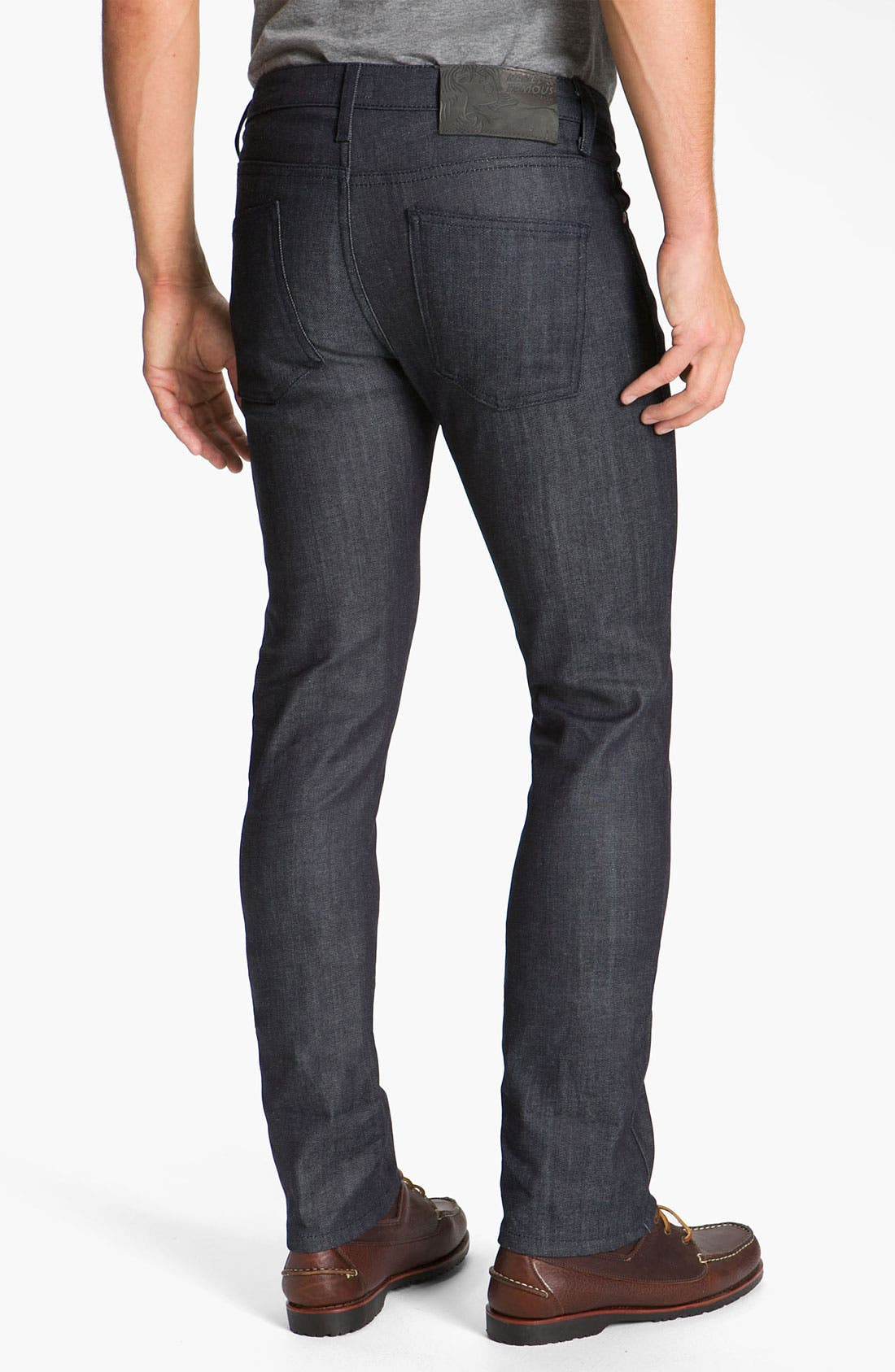 Alternate Image 1 Selected - Naked & Famous Denim 'Skinny Guy' Slim Cotton Cashmere Skinny Leg Jeans (Dark Indigo)