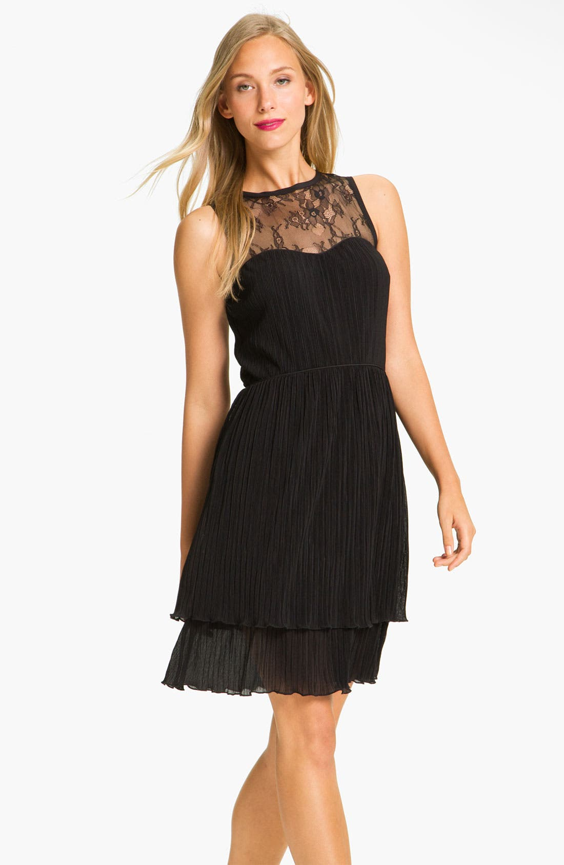 Main Image - Jessica Simpson Lace Yoke Tiered Chiffon Dress
