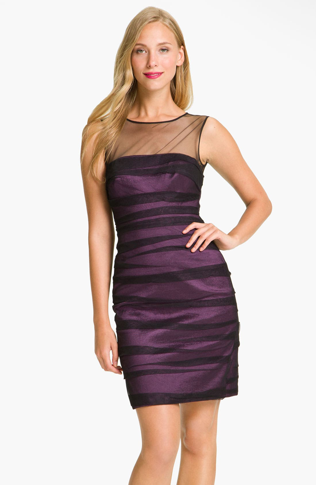 Alternate Image 1 Selected - JS Collections Shirred Illusion Yoke Sheath Dress
